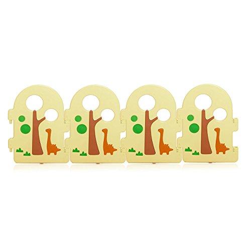 Baby Vivo Laufgitter Laufstall Zusatzpaket Baby Absperrgitter Krabbelgitter Schutzgitter für Kinder aus Kunststoff mit Tür und Spielzeug - Forest - 4 Elemente