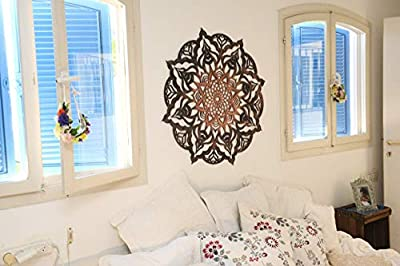 High Quality Mandala Wood Home Decor, Black Copper Geometric Indian Wall Art Sacred Geometry
