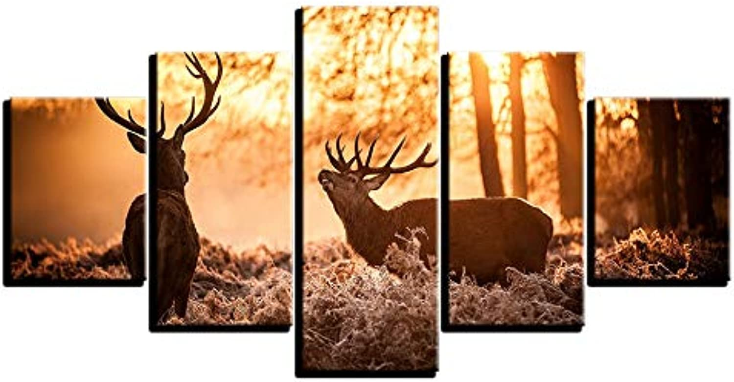 LONLLHB Painting Wall Art Canvas Painting Frame for Living Room Modular Hd Prints Poster 5 Piece Forest Animal Deer Pictures Home Decor
