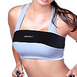 ZQBXFUN No-Bounce Breast Support Band Alternative Sports Bra Adjustable Extra Strap(Black,Medium)