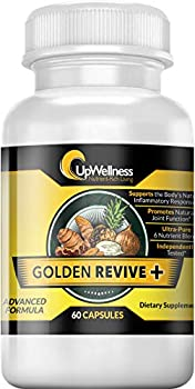 Upwellness  Golden Revive + - Joint Pain Relief with Quercetin Magnesium and Turmeric - 60 Capsules - 6 Active Ingredients for Musculoskeletal Support - Joint and Muscle Care - Physician Formulated
