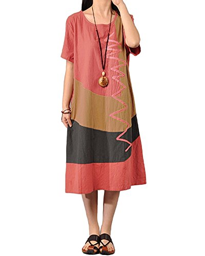 Romacci Women Baggy House Dress Plus Size Pockets O Neck Short Sleeves Casual Loose Dress Cotton Vintage Dress Watermelon Red