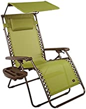 Bliss Hammocks Zero Gravity Chair with Canopy and Side Tray, Sage Green, 31