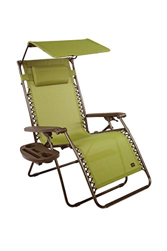 "Bliss Hammocks Zero Gravity Chair with Canopy and Side Tray, Sage Green, 31"" Wide"