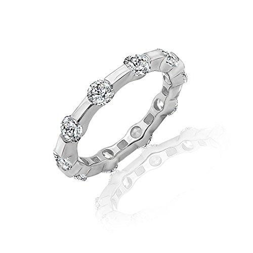 Diamonbliss Platinum Clad Cubic Zirconia 100 Facet Tension Set Band Ring- Size 8