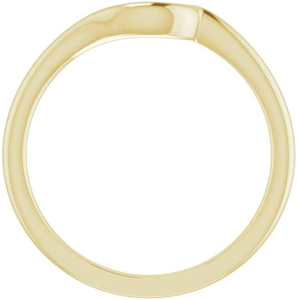 Solid 14k Yellow Gold Curved Notched Wedding Band for 4.1mm and 4.4mm Round Ring Guard Enhancer - Size 7