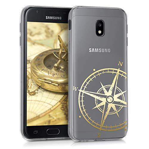 kwmobile Hülle kompatibel mit Samsung Galaxy J3 (2017) DUOS - Hülle Handy - Handyhülle Kompass Vintage Gold Transparent