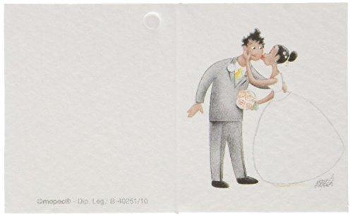 Mopec Tarjeta librito de Boda con una Pareja dándose un Beso en la mejilla, Pack de 100 Unidades, Cartulina, Multicolor, 0.02x6.50x4.00 cm