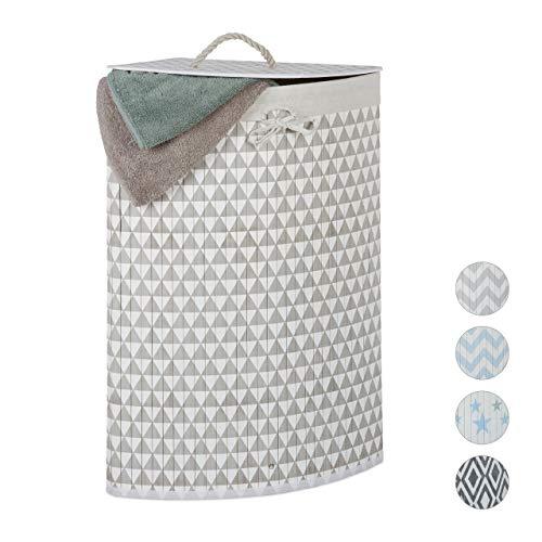 Relaxdays Eckwäschekorb Bambus, faltbare Wäschebox 60 l, Deckel, Dreieck-Muster, Wäschesack, 65,5x49,5x37 cm, beige-grau