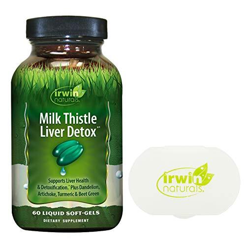 Irwin Naturals Milk Thistle Liver Detox Supports Liver Health, 60 Liquid Softgels Bundle with a Irwin Naturals Pill Case