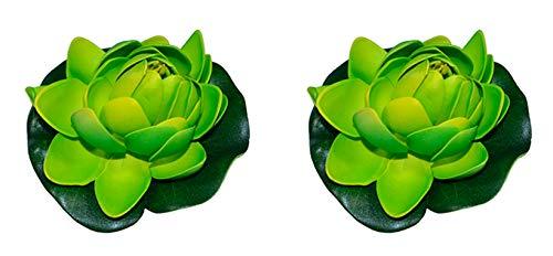 warenplus2014 2er Set Teichdekoseerosen künstlich Seerose Aquarium Pflanze Deko Teichrosen