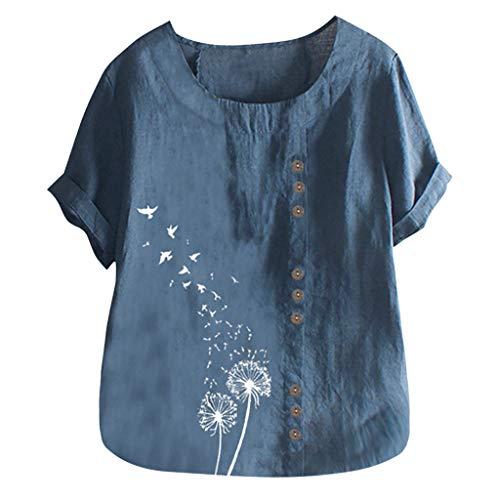 VEMOW Camiseta Mujer Casual Talla Extra Manga Corta Elegante Algodón Lino Cuello Redondo Impresión Blusa Parte Superior Tops Shirts tee Verano OtoñO(E Azul,2XL)