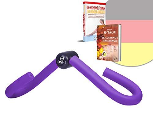 OnFit Oberschenkeltrainer - Premium Qualität - in hochwertiger Verpackung - inkl. Trainingshandbuch und Ernährung E-Book - multifunktional - Heimtrainer mit superweichen Schaumstoff