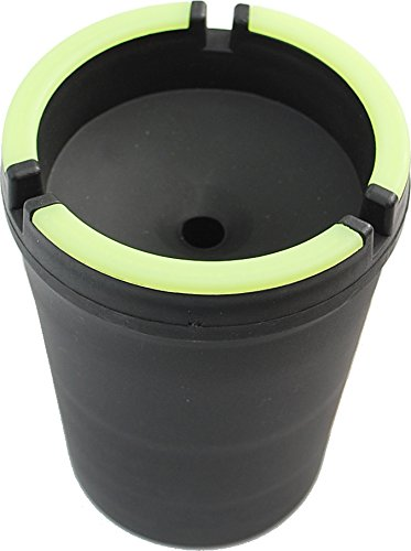 Cotton Fly Glow in The Dark Cup-Style Self-Extinguishing Cigarette Ashtray - Black (Big)