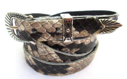 Western Hatband Black & White Genuine Python Snake Skin with 3 Pc Buckle Set