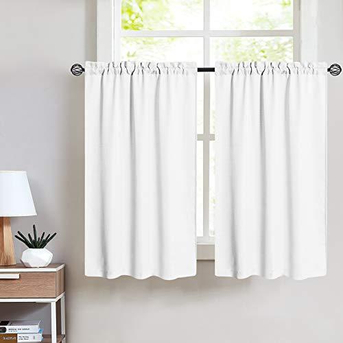Vangao Kitchen Tier Curtains 36 inch Rod Pocket Half Window Curtain Casual Weave Textured Cafe Curtain Semi Sheer Short Curtain for Bathroom Bedroom, 2 Panels, W68xL36|Set,Cream