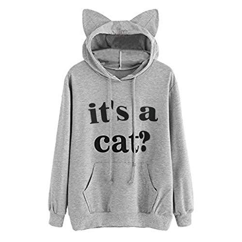 Xmiral Hoodie Pullover Damen Cat Drucken Kapuzenpullover Sweatshirt Casual Langarm Top (L, Z Grau)