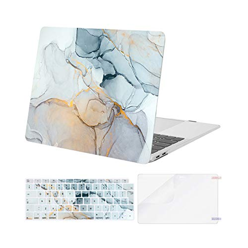 MOSISO MacBook Air 13 inch Case 2020 2019 2018 Release A2337 M1 A2179 A1932, Plastic Hard Shell&Keyboard Cover&Screen Protector Only Compatible with MacBook Air 13 inch Retina, Marble MO-MBH190