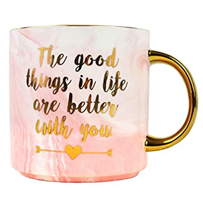 Best Love Mug – Gifts for Valentines Girlfriend Wife Mothers Day Mom Sister Marble Ceramic Mugs – Better With You Coffee Cup 11 oz