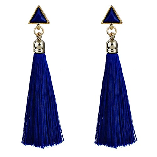 Moonuy Frauen Ohrringe 2018 Mode böhmischen Frauen Legierung ethnischen hängende Seil Quaste Ohrringe neue Schmuck Organizer für Damen aus China (Blau)