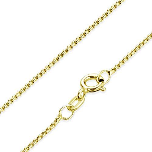 MATERIA Venezianerkette Gold Damen - Halskette 925 Silber vergoldet Goldkette 1,2mm für Frauen Mädchen in Box K100-50 cm