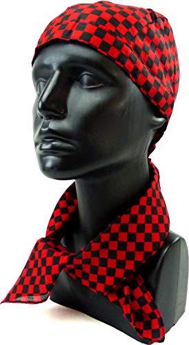 tuecher Set Foulard Nicki Chiffon Carreaux Noir Rouge Petit Punk Rock Accessoire Déguisement Costume Bandana Foulard Bandana zantana 54 cm (Carreaux Petit) 4981