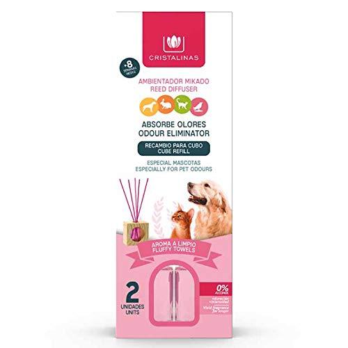 CRISTALINAS. Recambios Ambientador & Absorbe Olor Mikado para Mascotas. 0% Alcohol. Mas de 4+4 semanas de duracion. 2x30 ml. Aroma (Aroma a Limpio) (Pack Dúo)