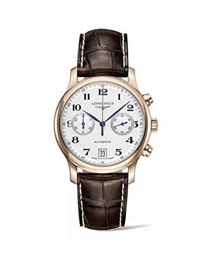 Longines Master Collection Plata Dial 18KT Rose Oro Brown Cuero Mens Reloj l26698783