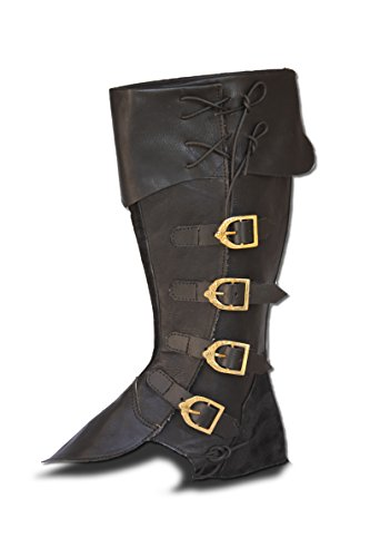 CP-Schuhe Mittelalter Gamaschen Stiefelstulpen (L,schwarz)