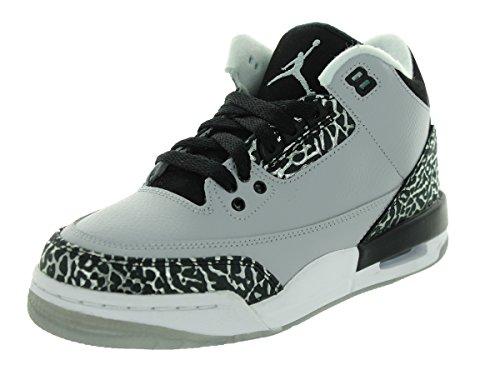 Price comparison product image Jordan Nike Kids Air 3 Retro BG Wolf Grey / Metallic Silver / Blk Basketball Shoe 6 Kids US