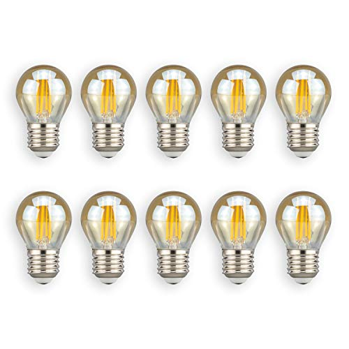 POPP Bombillas LED Vintage Edison G45, 4W, 2700K, 380Lm Antigua Lampara Bulbo Filamento No Regulable (Pack 10)