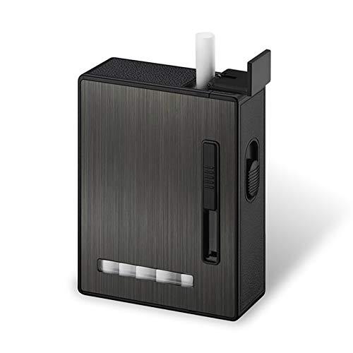 Bias&Belief Caja para Cigarrillos con Mechero USB Recargable De Cigarrillos Caso Visualización 2 En 1,Sin Llama,Encendedor Eléctrico,Resistente Al Viento para Hombre Y Mujer