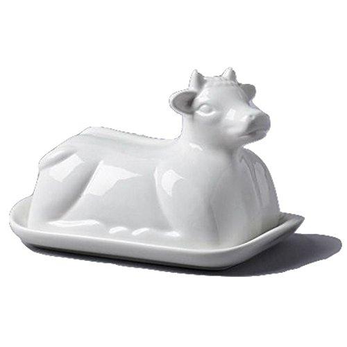 Plat De Vache À Thème En Céramique Blanche De Beurre (De 19X14X7Cm) (Paquet de 4)
