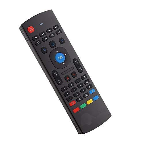 YFish Mando a Distancia con Mini Teclado Universal Inalámbrico 2 en 1 Sirve como Ratón Air Mouse Inteligente para Tele Ordenador Smart TV Box con Sistema Android Mac OS Windows y Linux 2.4GHz RF