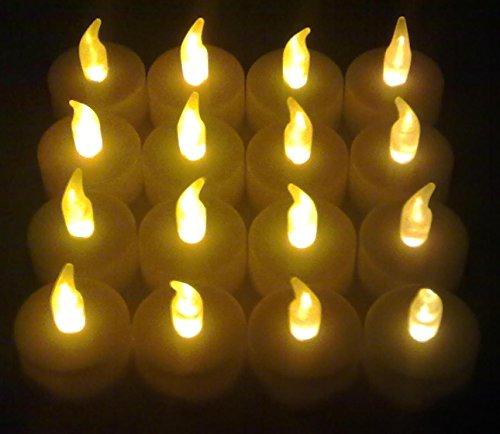 LED Teelicht Teelichter 24 Stück flackernd weiss inklusive Batterien, Hillfield® (24)