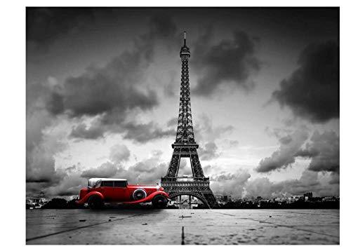 Torre Eiffel Y Coche Rojo 200 Pcs DIY Rompecabezas De Madera Educational Game Grande Educativo El Alivio del Estrés Art Painting Puzzle Decoración