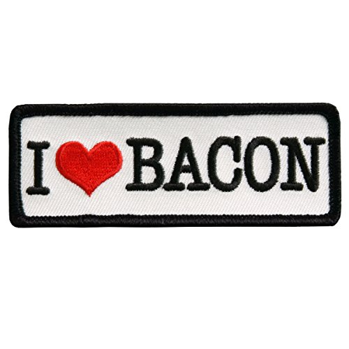 I LOVE BACON, High Thread Embroidered Iron-On / Saw-On Rayon PATCH - 4' x 2'