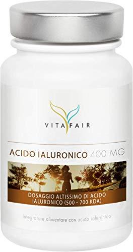 Acido Ialuronico - 400mg per Porzione - 120 Capsule - Dimensione molecolare 500-700 kDa - Anti-invecchiamento – Ad Alto Dosaggio - Vegano - Senza Sali di Magnesio - Made in Germany