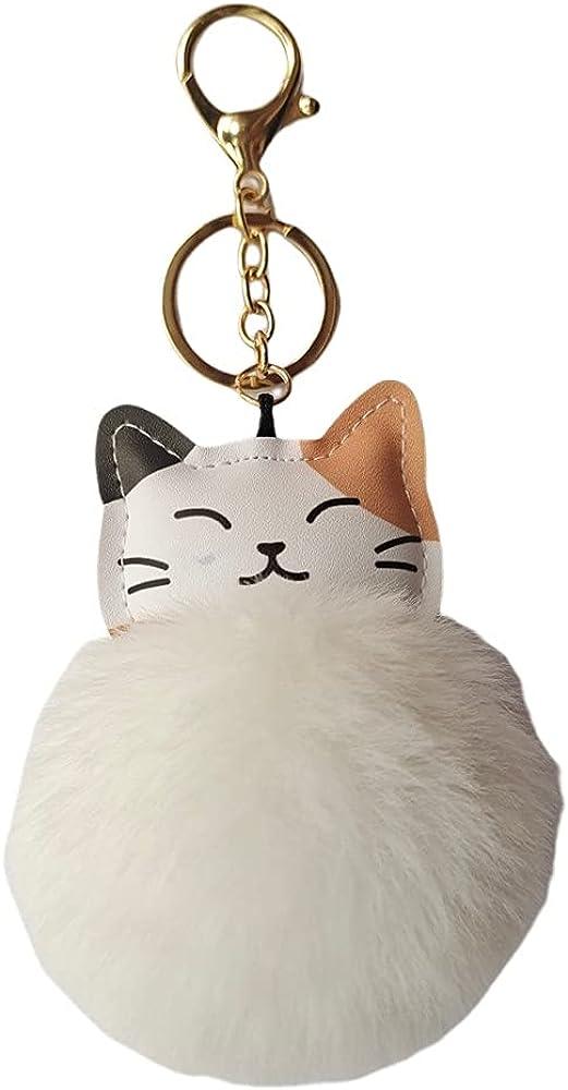 Cute Kitty Faux Fur Ball Pom pom Keychain, Car Keyring, Handbag Pendant, Wallet Charm