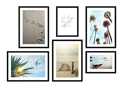 POSTORO Stilvolles Wohnzimmer Poster Set, 6 harmonisch aufeinander abgestimmte Bilder, 4 x DIN A3 + 2 x DIN A4 (Posterset (A3+A4) ohne Rahmen, Ocean Breeze)