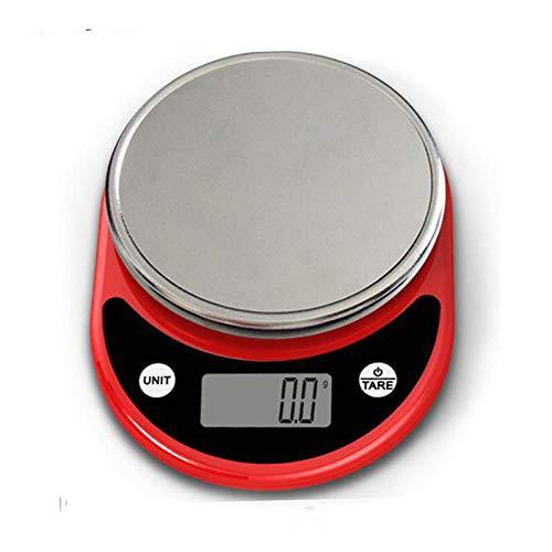 Báscula Digital de Cocina,Balanza de Alimentos Multifuncional, Escala de Peso de Alta Precisión con Función de Tara, Pantalla LCD Báscula de Alimentos Electrónica -rojo