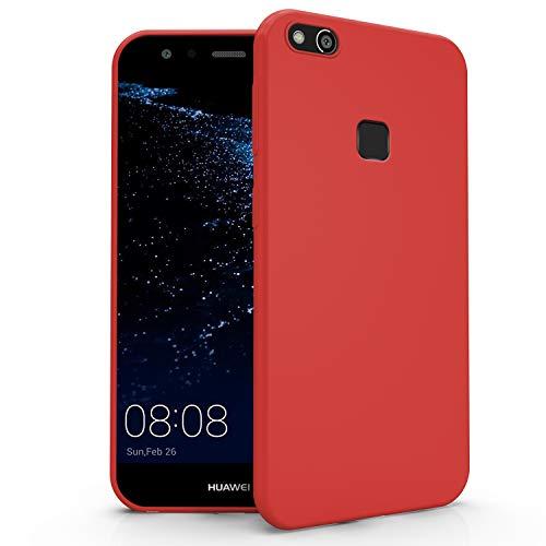 N NEWTOP Cover Compatibile per Huawei P10 Lite, Custodia TPU Soft Gel Silicone Ultra Slim Sottile Flessibile Case Posteriore Protettiva (Rosso)