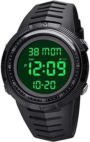 Reloj de pulsera digital para hombre, cronómetro, doble tiempo, alarma, resistente al agua hasta 50 m, temporizador de cuenta atrás para hombres, Negro,