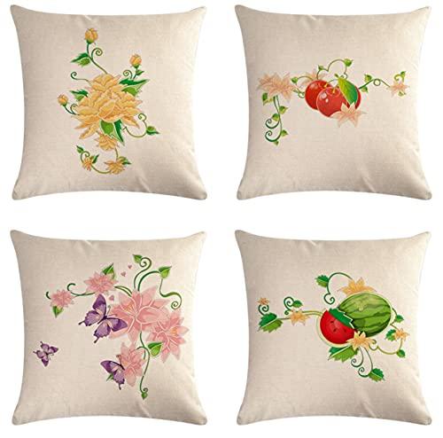 JOVEGSRVA Juego de 4 fundas de cojín decorativas de lino y mariposa, para casa, oficina, sofá, coche, jardín, 45 x 45 cm