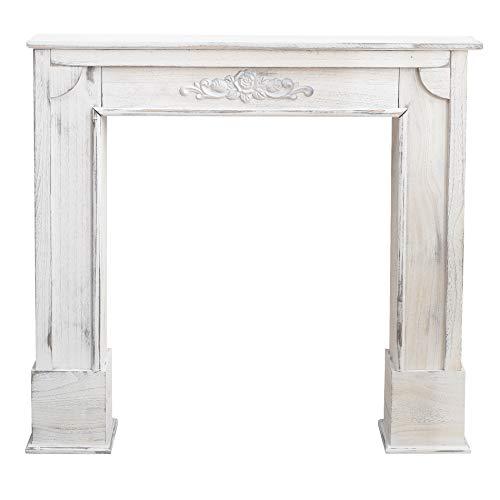 Rebecca Mobili Cornice Decorativa Shabby, Caminetto Finto Legno, Bianco, Design Vintage, Living - Misure 100 x 105 x 21 cm (HxLxP) - Art. RE4863