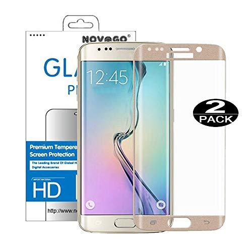 NOVAGO - Juego de 2 Protectores de Pantalla de Cristal Templado Curvado (Redondeados en el Borde) para Samsung Galaxy S6 Edge (Ultrafino, 0,2 mm), Color Dorado