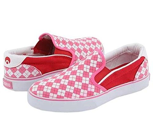 Osiris Skateboard Schuhe/Slip Ons Scoop Girls Kids Pink/Red/Argyle - Slipper Kids Slip On Schuhe, Schuhgrösse:33