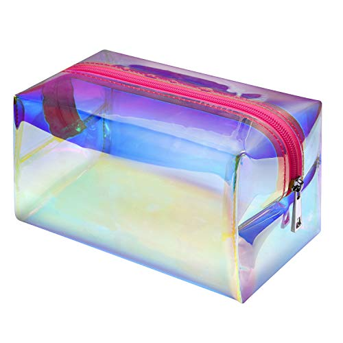 Makeup Bag, F-color Holographic Clear Travel Cosmetic Bag Large Capacity Toiletry Bag for Women,