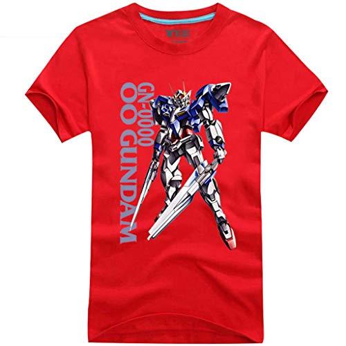 ACEGI Camiseta de Manga Corta de algodn para Hombre de Verano para Hombre Anime Gundam Avatar 00 Mobile Forces