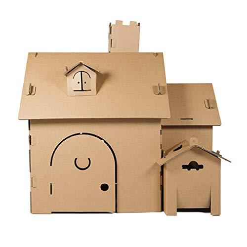 JLCP Spielhaus für Kinder im Freien, Färbung Spielen Spielzeug Haus mit Fenstern und zu öffnender Tür DIY Graffiti Spielhaus aus Pappe Leicht zusammenzubauen